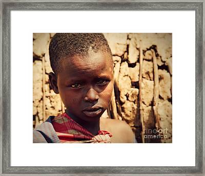 Maasai Child Portrait In Tanzania Framed Print by Michal Bednarek