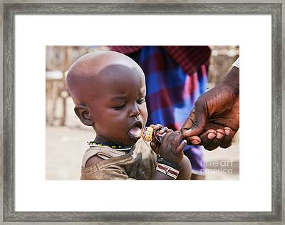 Maasai Child Trying To Eat A Lollipop In Tanzania Framed Print by Michal Bednarek