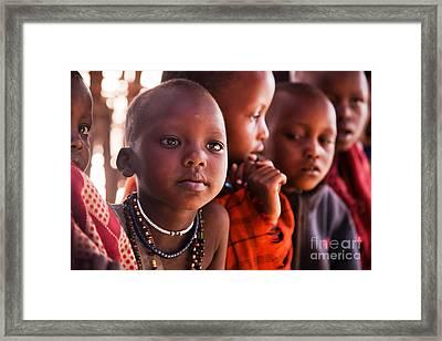 Maasai Children In School In Tanzania Framed Print by Michal Bednarek