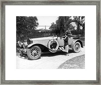 Mabel Normand In A Rolls Royce Framed Print