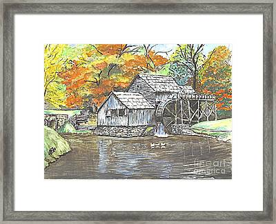 Mabry Grist Mill In Virginia Usa Framed Print by Carol Wisniewski