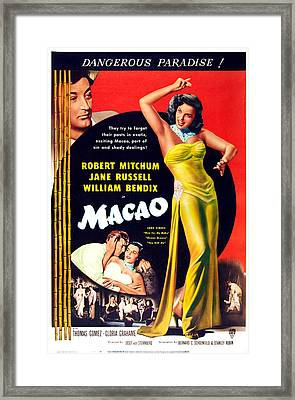 Macao, Top Left Robert Mitchum, Right Framed Print