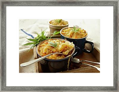 Macaroni And Cheese Infused With Framed Print by Lew Robertson