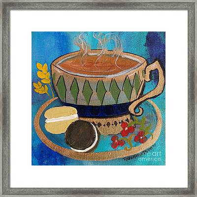 Framed Print featuring the painting Macaroons And Tea by Robin Maria Pedrero