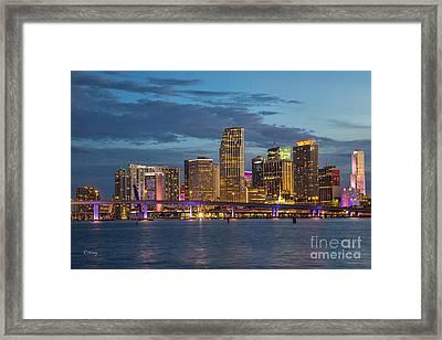 Miami As The Sun Sets Framed Print