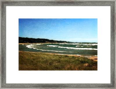 Macatawa Beach With Waves Framed Print by Michelle Calkins