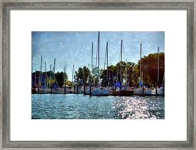 Macatawa Masts Framed Print by Michelle Calkins
