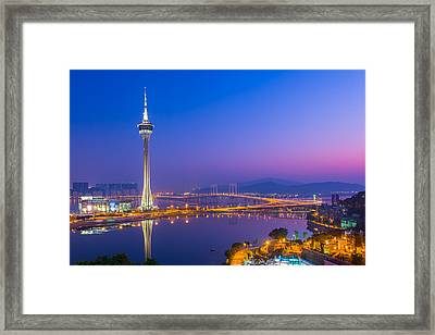 Macau Tower In China Framed Print by Nattee Chalermtiragool
