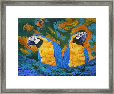Framed Print featuring the painting Macaw Mates by Margaret Saheed