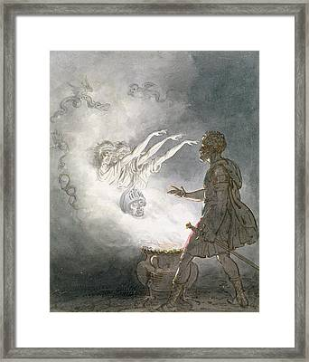 Macbeth And The Apparition Of The Armed Head, Act Iv, Scene I, From Macbeth, By William Shakespeare Framed Print by William Marshall Craig