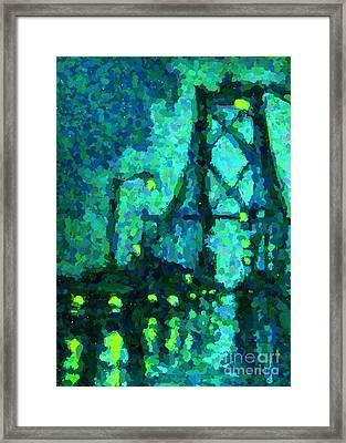 Macdonald Bridge On Rainy Night In Halifax Framed Print
