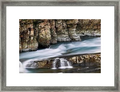 Macdonald Creek Falls Glacier National Park Framed Print by Rich Franco