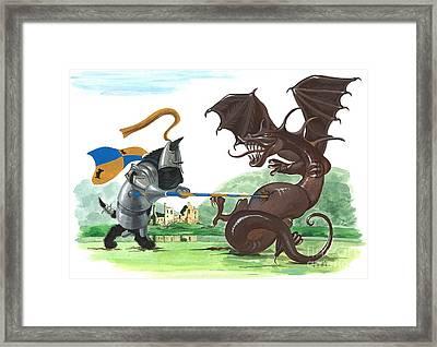 Macduff And The Dragon Framed Print by Margaryta Yermolayeva
