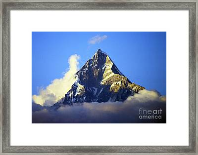 Framed Print featuring the photograph Machapuchare - Sacred Mountain by Jacqi Elmslie