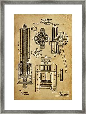 Machine Gun - Patented On 1862  Framed Print by Pablo Franchi