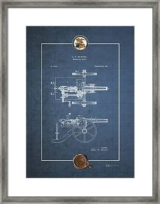 Machine Gun - Automatic Cannon By C.e. Barnes - Vintage Patent Blueprint Framed Print