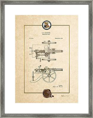 Machine Gun - Automatic Cannon By C.e. Barnes - Vintage Patent Document Framed Print