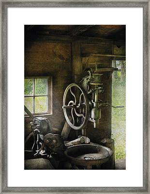 Machine Shop - An Old Drill Press Framed Print by Mike Savad