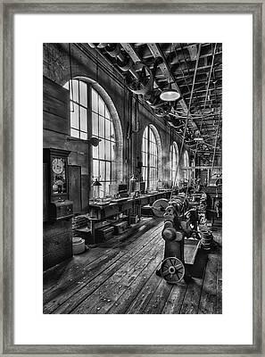 Machine Shop Bw Framed Print