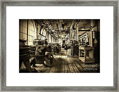 Machine Shop In Sepia Framed Print