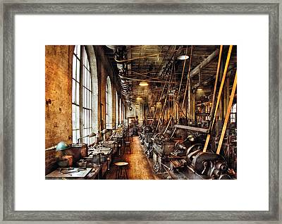 Machinist - Machine Shop Circa 1900's Framed Print by Mike Savad