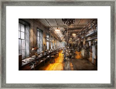 Machinist - Santa's Old Workshop Framed Print by Mike Savad