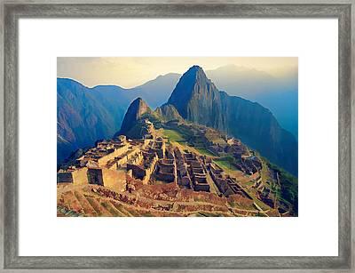 Machu Picchu Late Afternoon Sunset Framed Print