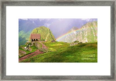 Machu Picchu Rainbow Framed Print by Michele Penner
