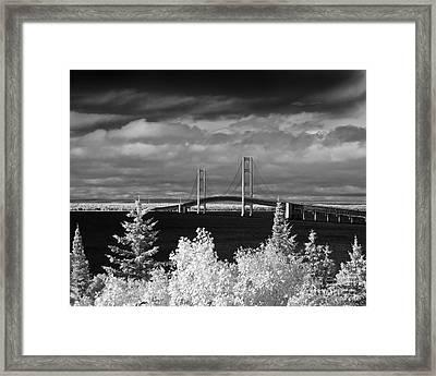 Macinac Bridge - Infrared Framed Print