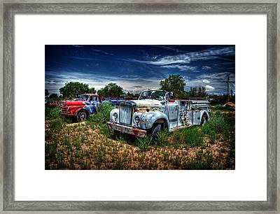 Framed Print featuring the photograph Mack Fire Truck And Graffiti Fire Truck by Ken Smith
