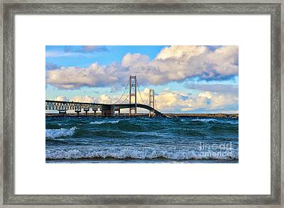 Mackinac Among The Waves Framed Print