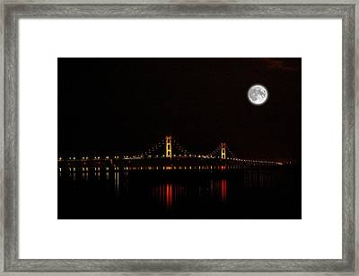Mackinac Bridge And Moon Framed Print