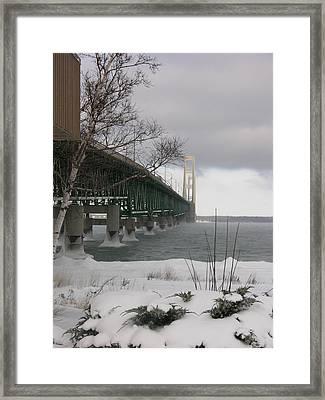 Mackinac Bridge At Christmas Framed Print