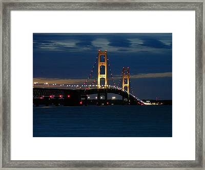 Mackinac Bridge At Dusk Framed Print by Keith Stokes