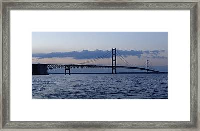 Mackinac Bridge At Eventide Framed Print by Keith Stokes