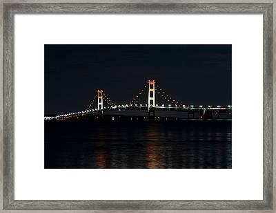 Mackinac Bridge At Night Framed Print by Keith Stokes