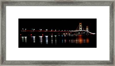 Framed Print featuring the photograph Mackinac Bridge At Night by Michael Donahue