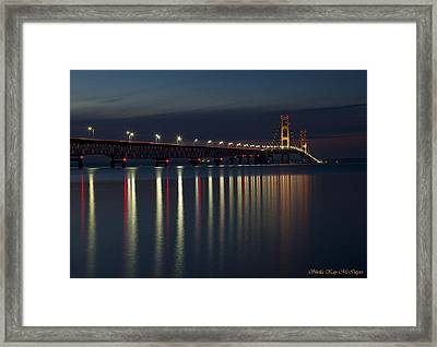 Mackinac Bridge At Night Framed Print