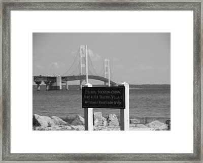 Mackinac Bridge Black And White Framed Print
