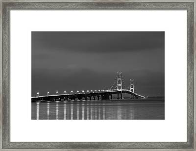 Mackinac Bridge Black And White Framed Print by Sebastian Musial