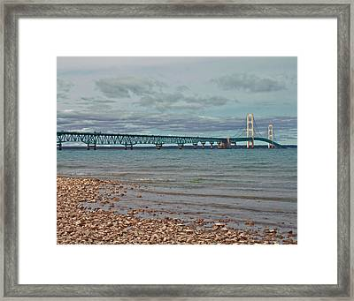 Mackinac Bridge Framed Print by Brady D Hebert
