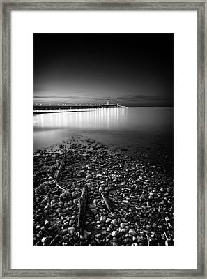 Framed Print featuring the photograph Mackinac Bridge Bw by Larry Carr