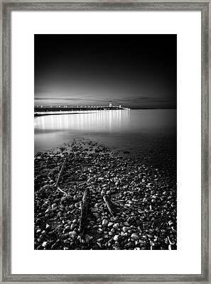 Mackinac Bridge Bw Framed Print by Larry Carr