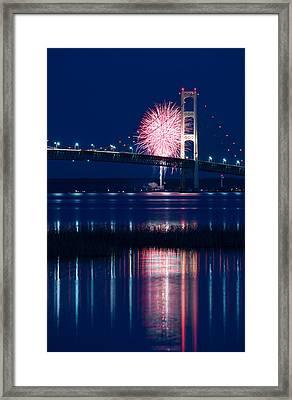 Mackinac Bridge Fireworks Framed Print by Steve Gadomski
