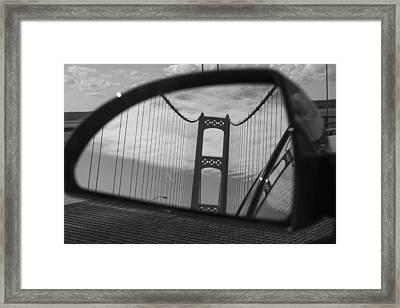 Mackinac Bridge In The Mirror Framed Print by John McGraw