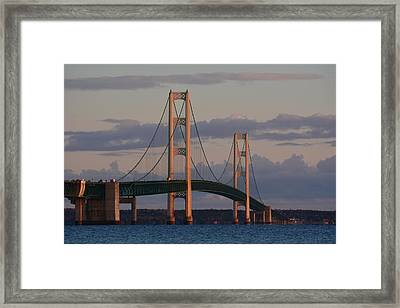 Mackinac Bridge In The Morning Sun Framed Print by Keith Stokes