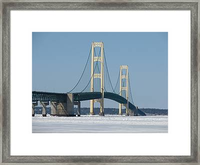 Mackinac Bridge In Winter Framed Print by Keith Stokes