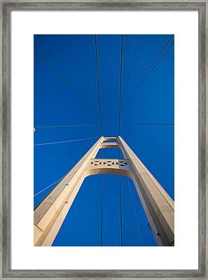 Mackinac Bridge South Tower Framed Print by Steve Gadomski