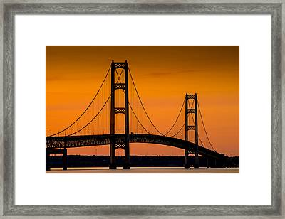 Mackinac Bridge Sunset Framed Print by Steve Gadomski
