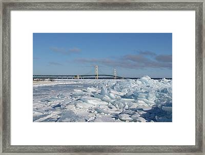 Mackinac Bridge With Ice Windrow Framed Print by Keith Stokes